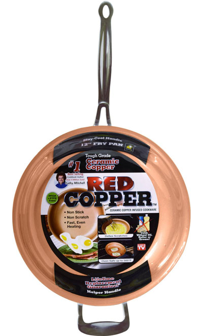 "RED COPPER 12"" FRYING PAN"